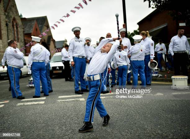 A young Orange band member prepares for the off during the annual 12th of July Orange march and demonstration takes place on July 12 2018 in Belfast...