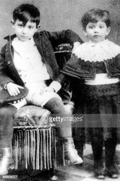 young Pablo Picasso when child with his sister Lola in Malaga in 1888