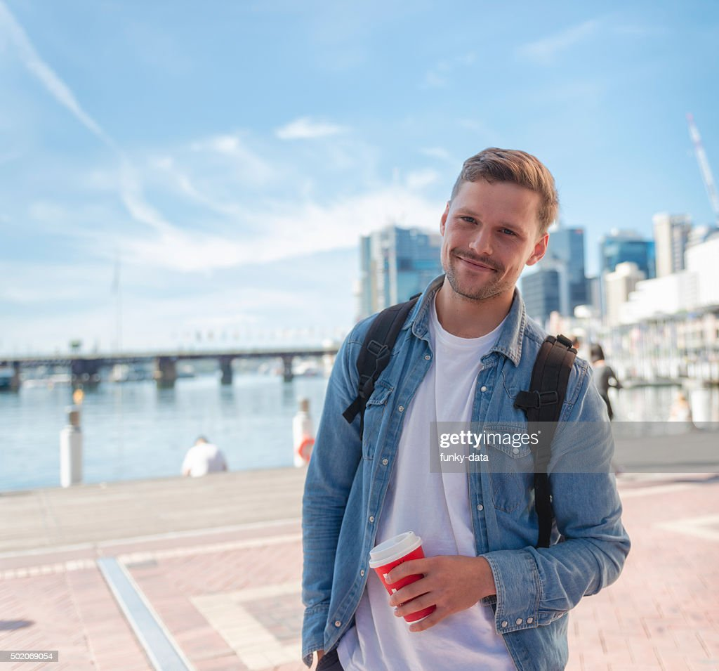 Young packpacker in Sydney : Stock Photo