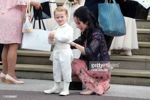 A young page boy before for the wedding of Lady Gabriella Windsor and Mr Thomas Kingston at St George's Chapel on May 18 2019 in Windsor England