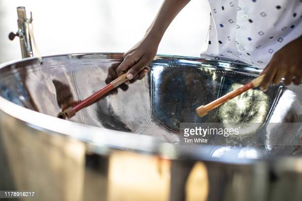 young pan drummer, caribbean island of tobago - trinidad and tobago stock pictures, royalty-free photos & images
