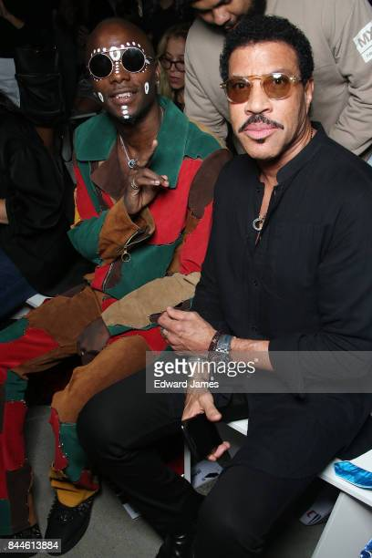 Young Paris and Lionel Richie sit in the front row at the Jeremy Scott fashion show during New York fashion week on September 8 2017 in New York City