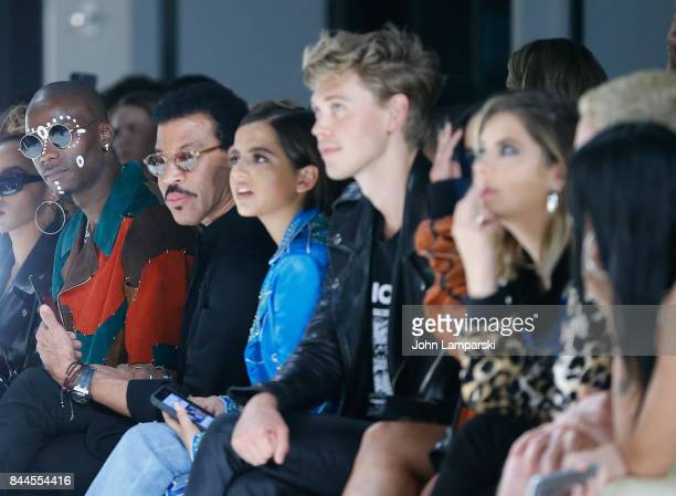 Young Paris Lionel Richie Isabela Moner Austin Butler and Vanessa Hudgens attend Jeremy Scott collection during the September 2017 New York Fashion...