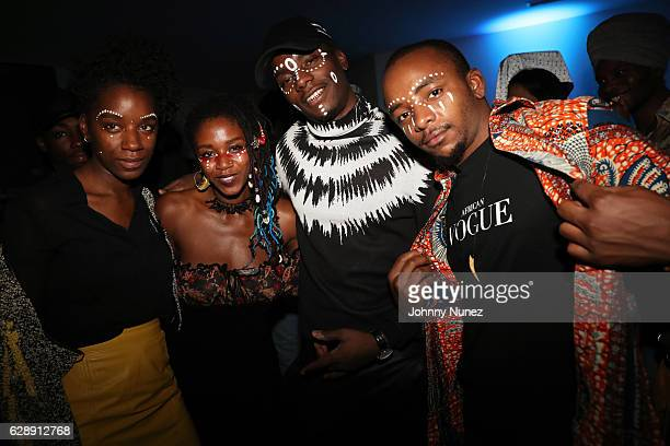 Young Paris poses with guests at his 'African Vogue' Album Listening Party on December 9 2016 in the Brooklyn borough of New York City