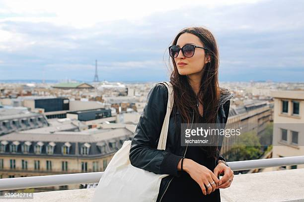 Young Parisian woman enjoying the view