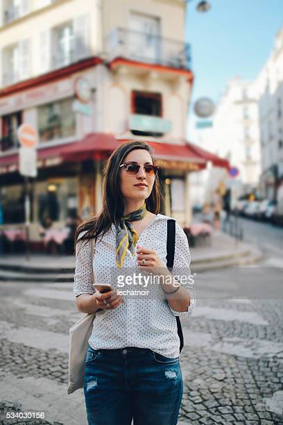 Young Parisian woman walking