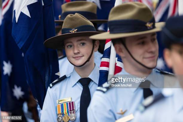 Young participants in the ANZAC Day March are pictured on April 25 2019 in Sydney Australia Australians commemorating 104 years since the Australian...