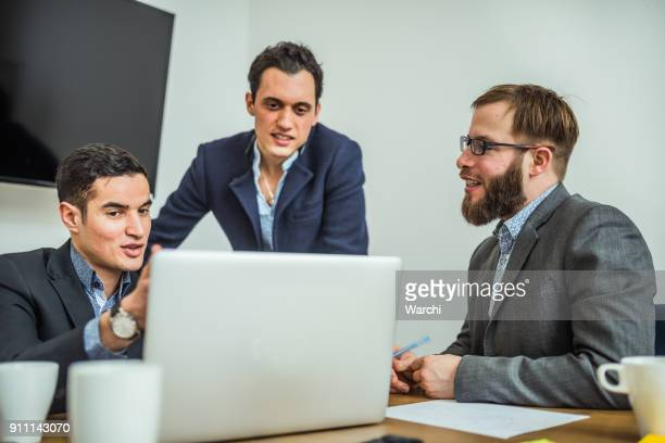 Young partners having a web conference