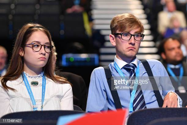 Young party faithful attend day two of the 2019 Conservative Party Conference at Manchester Central on September 30, 2019 in Manchester, England....