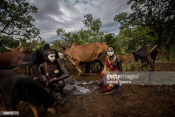 Young pastors of the tribe surma with painted bodies