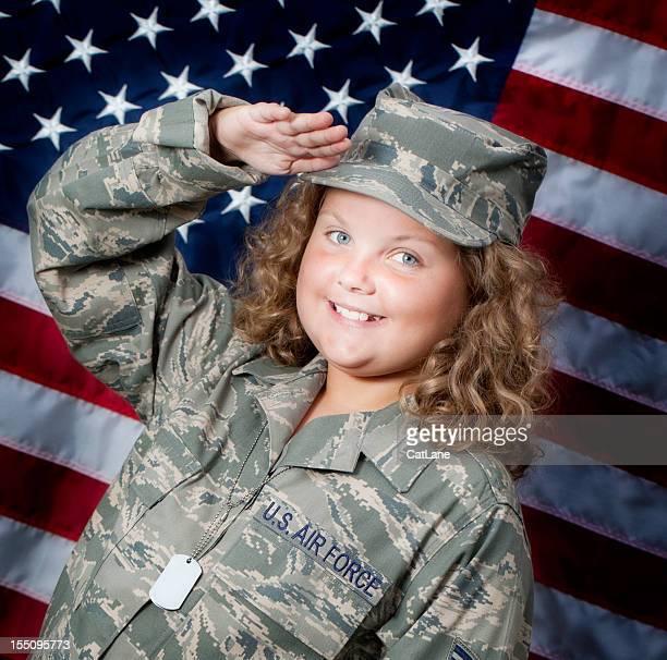 Young Patriotic Girl Saluting