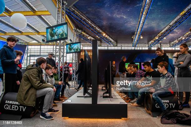 Young people are seen playing videogames during the Bright Day Festival in Amsterdam on November 23rd 2019