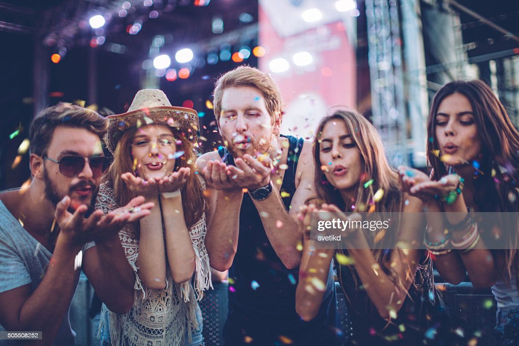 Young people at concert. : Stock Photo
