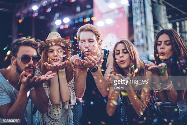 young people at concert. - traditioneel festival stockfoto's en -beelden