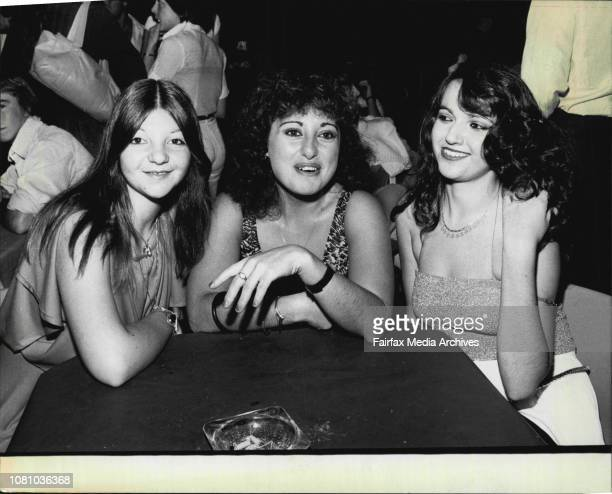 Young People at Maxy's Disco in George Street Laura Greco of Petersham aged 18 Anna Scopelliti of Petersahm aged 18 and Dana Kero of Petersham aged...