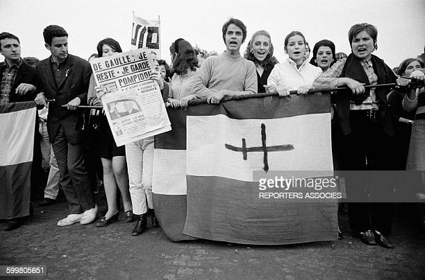 Young People At The Gaullist Counter Demonstration On The ChampsElysées In Paris France On May 30 1968
