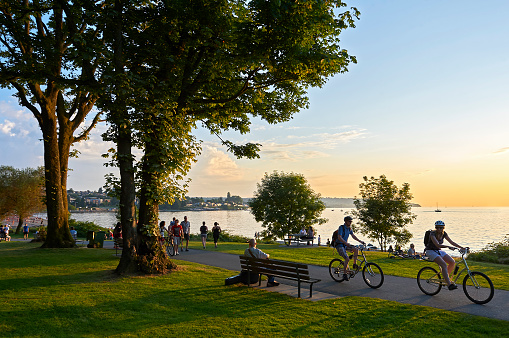 Young people biking and walking at Stanley Park 1132313923