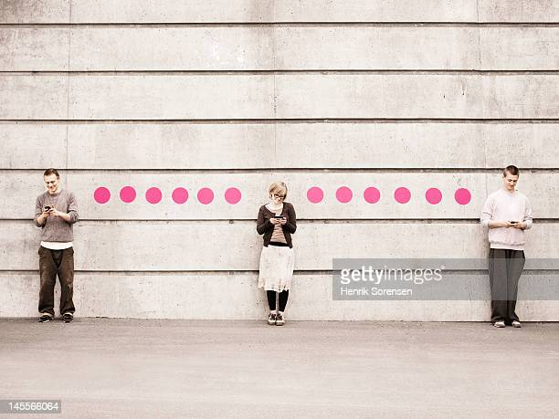 Young people connected with dots