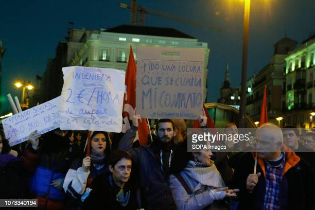 Young people demand for decent work contract that reaches the minimum wage and their studies in the labor market are recognized with placards during...