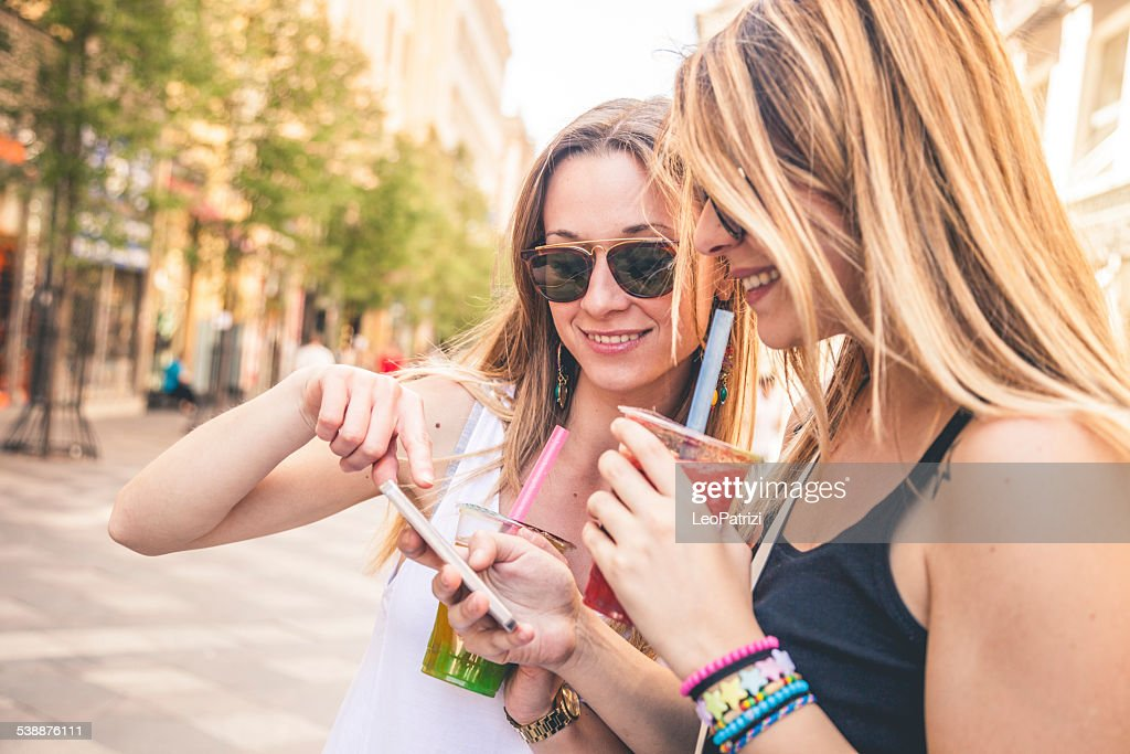Young people enjoying Bubble Tea : Stock Photo