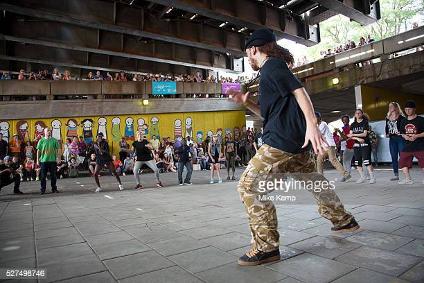 Young people gather for an urban street culture weekend on the Southbank Here underneath Hungerford Bridge youths join in various danceoff and...
