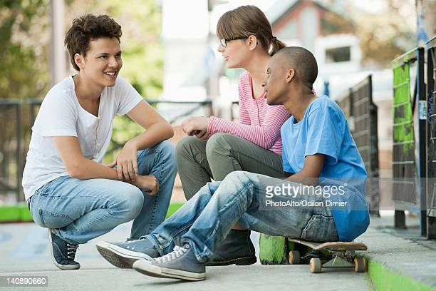 Young people hanging out together