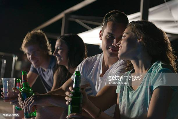 Young People Having a Party, Night, Summer Vacations, Mediteranean