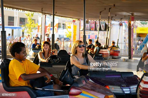 Young people having fun at the bumper cars at the Toronto CNE