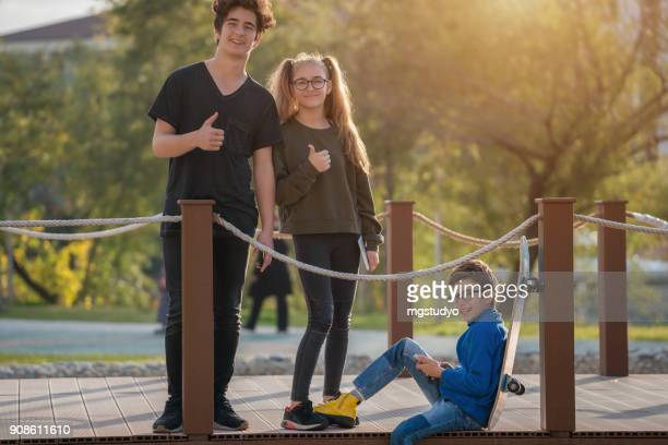 Young people having fun at the park