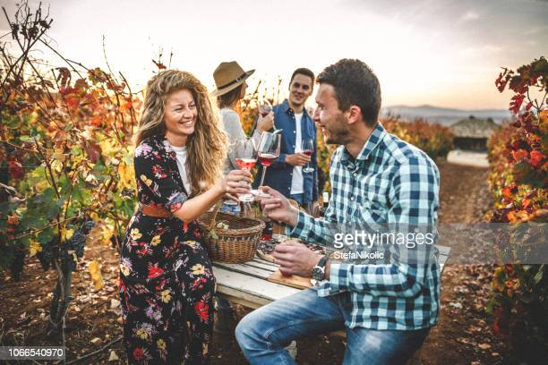 young people having fun together while drinking wine - wine harvest stock pictures, royalty-free photos & images