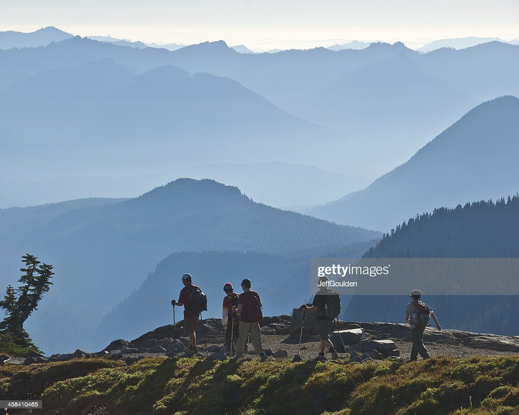 Hikers on a Mountain Trail : Stock Photo