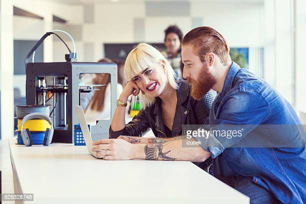 young people in 3d printer office - izusek stock pictures, royalty-free photos & images