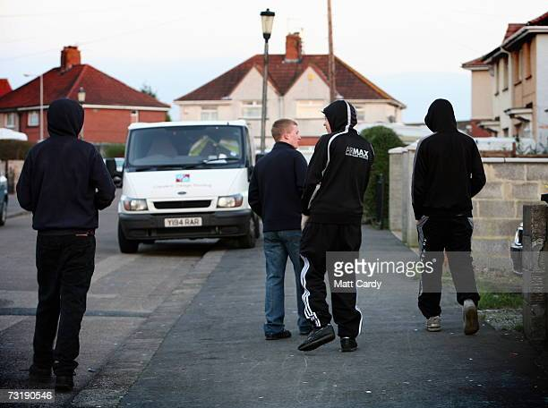 Young people in hooded tops gather on street in Knowle West February 2 in Bristol England Bristol City Council is one of 40 local authorities in...