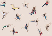 Young people jumping like dancers, Aerial Views