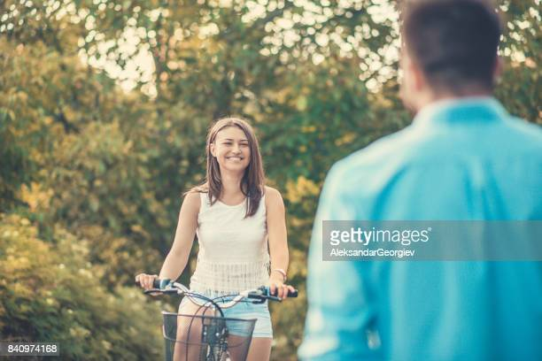 young people making eye contact in city park and flirting - macedonia country stock pictures, royalty-free photos & images