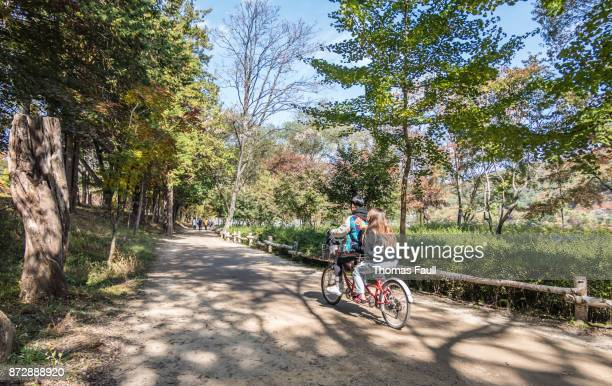 Young people on a tandem bike on Nami Island in South Korea