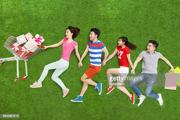 Young people on grass