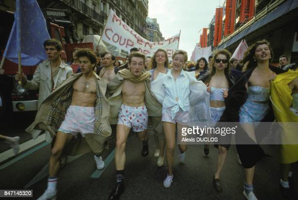 Young people parade on the Champs Elysees for boxer shorts Coup de Coeur on April 1 1986 in Paris France