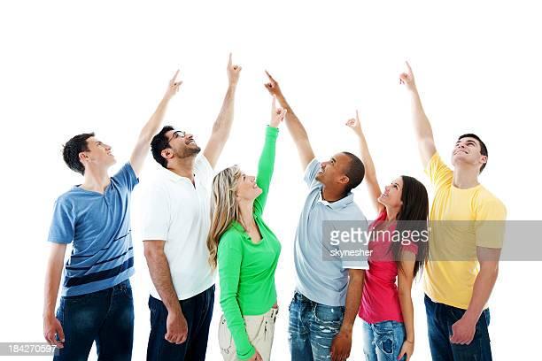 young people pointing upwards. - wijzen handgebaar stockfoto's en -beelden