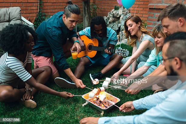 young people roasting marshamallows on open fire. - stringed instrument stock pictures, royalty-free photos & images