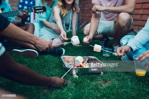 Jeunes rôtir Marshamllows à foyer ouvert.