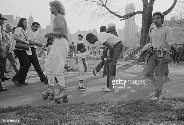 Young people rollerskating in Central Park New York City circa 1976