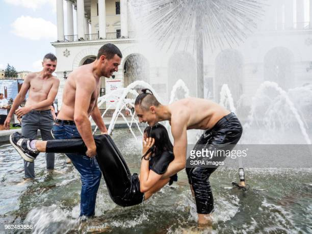 Young people seen having fun in the fountain On Saturday May 26 Kiev will host the finals of the largest and most prestigious European tournament the...