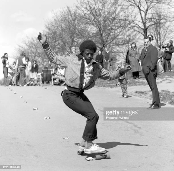 Young people skateboarding in Hyde Park, London, 1977.