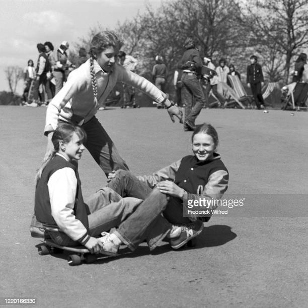 Young people skateboarding in Hyde Park London 1977