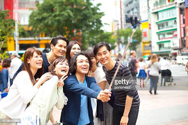 Young people taking selfie