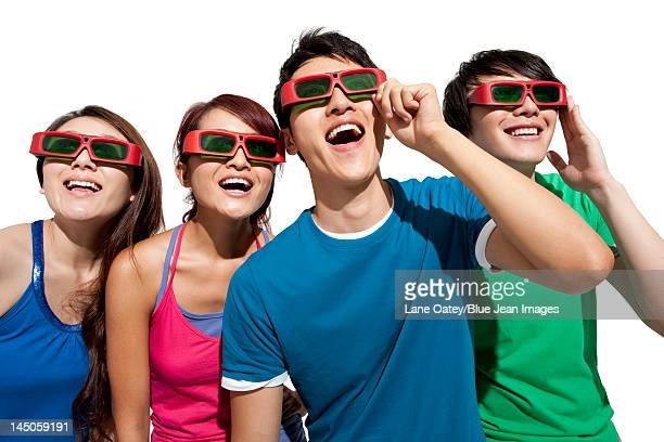 Young people waching 3D movie