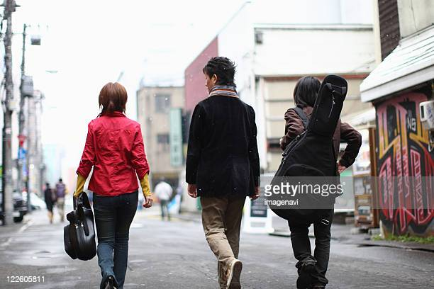 Young people walking a street