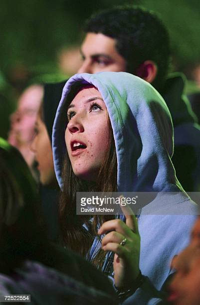 Young people watch a Christian rock band performance before seeing evangelist Billy Graham preach on the third night of the Greater Los Angeles Billy...