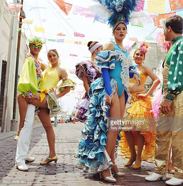 young people wearing costumes at fiesta - merida mexico stock photos and pictures